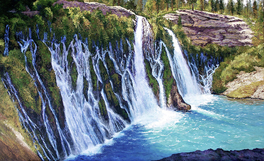 Burney Falls Painting by Donald Neff