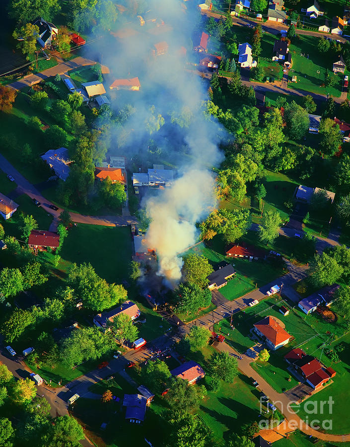 Burning Photograph - Burnin Down The House Aerial Single Family Home On Fire  by Tom Jelen