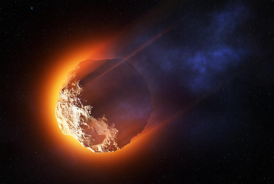 Asteroid Photograph - Burning asteroid entering the atmoshere by Johan Swanepoel