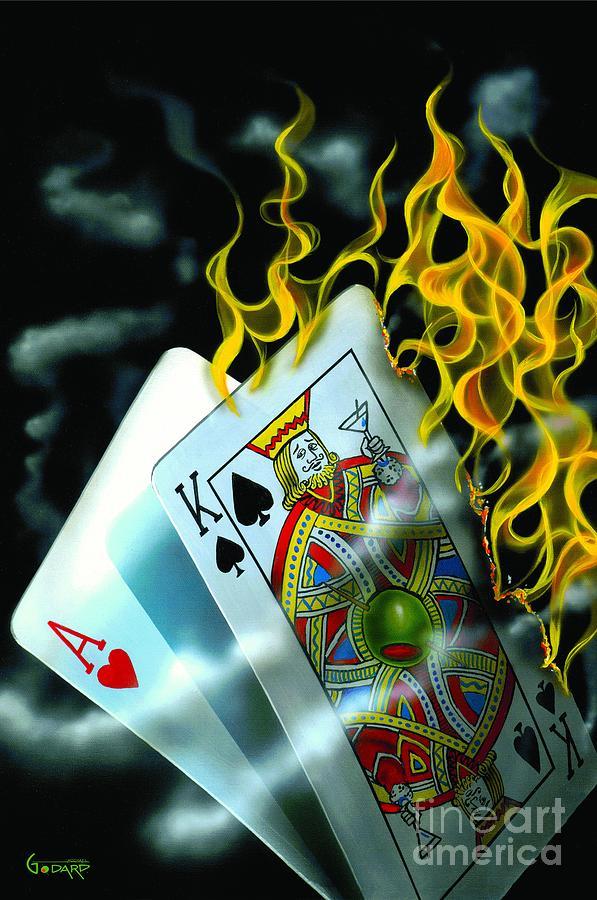 Blackjack Painting - Burning Blackjack by Michael Godard