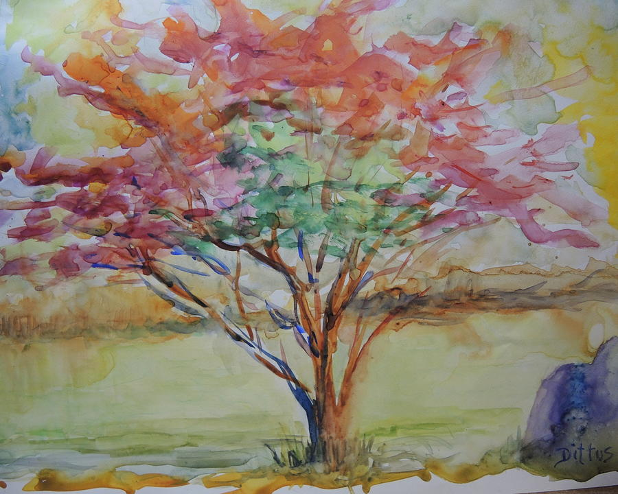 Burning Bush Painting - Burning Bush by Chrissey Dittus