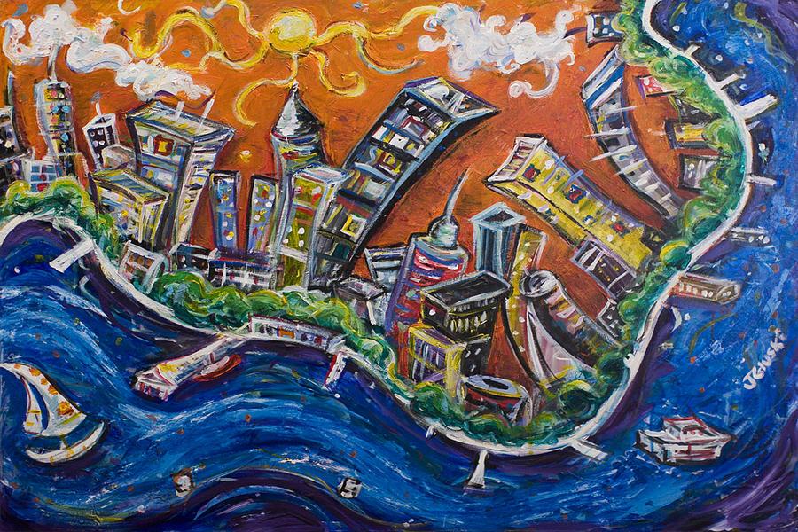 Burning City Painting by Jason Gluskin