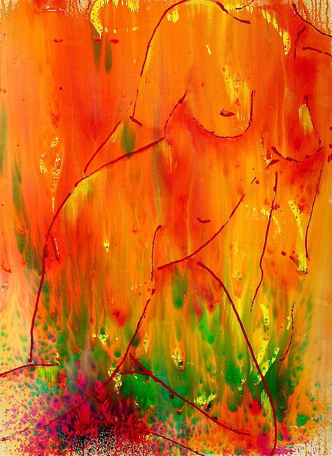 Nude Female Painting - Burning Desire by Nicole Lee