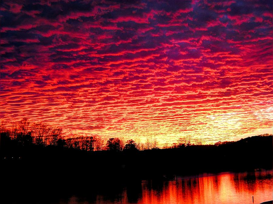 Sunset Photograph - Burning Lake by Andrew Webb