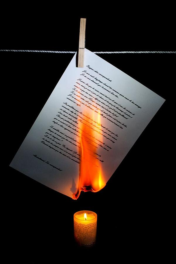 Burning Letter - photograph by Dimitra Nikolakopoulou