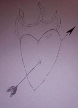 Love Drawing - Burning Love by Nate W