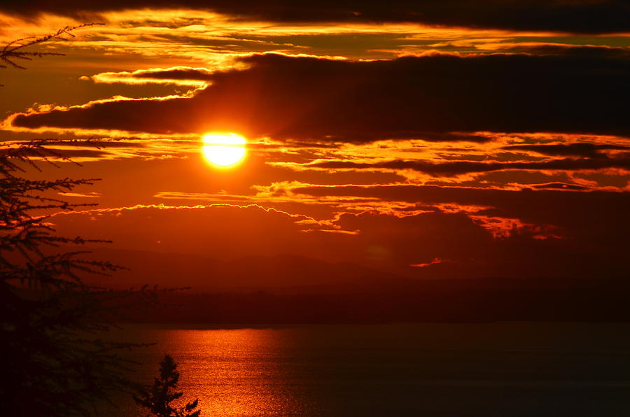 Puget Sound Photograph - Burning by Robert Evans