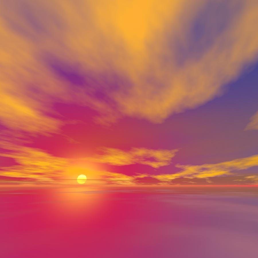 Sunset Digital Art - Burning Sunset by Taketo Takahashi