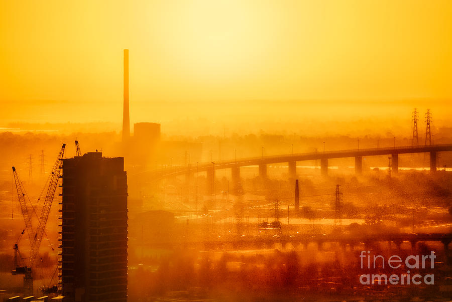 Burning Sunset Through Smog by Ray Warren