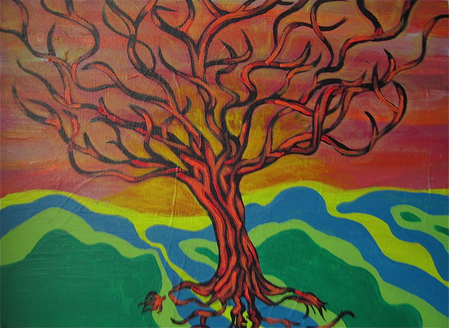 Tree Painting - Burning Tree by Rebecca Jankowitz