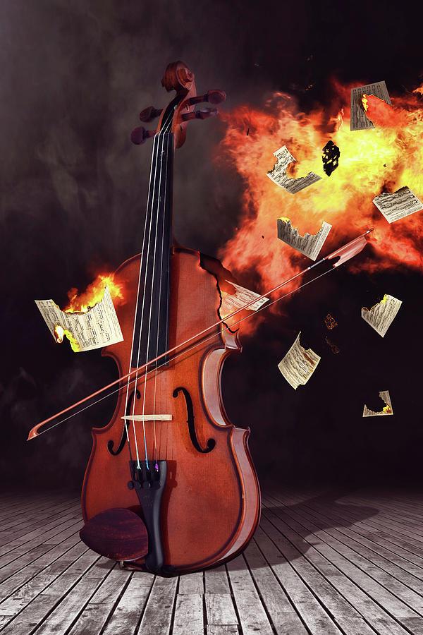 Burning Violin Digital Art