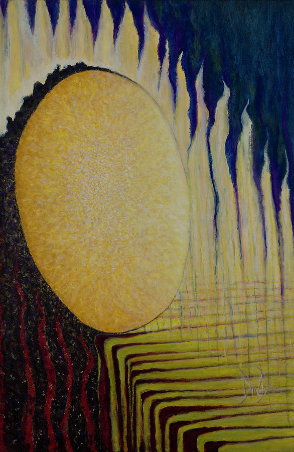 Geometric Abstracts Painting - Burning Yellow by David Douthat