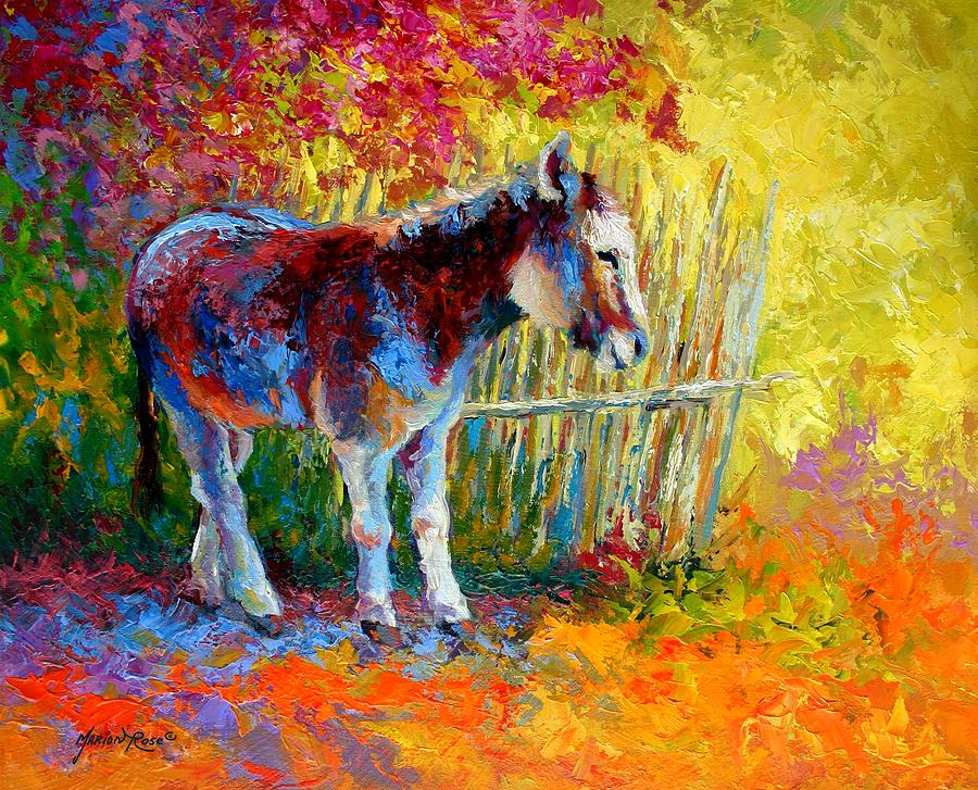 Burro and bouganvillia painting by marion rose Fine art america