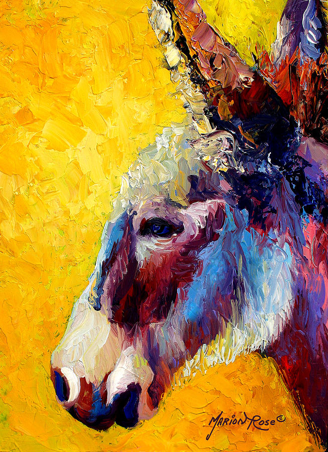 Western Painting - Burro Study II by Marion Rose