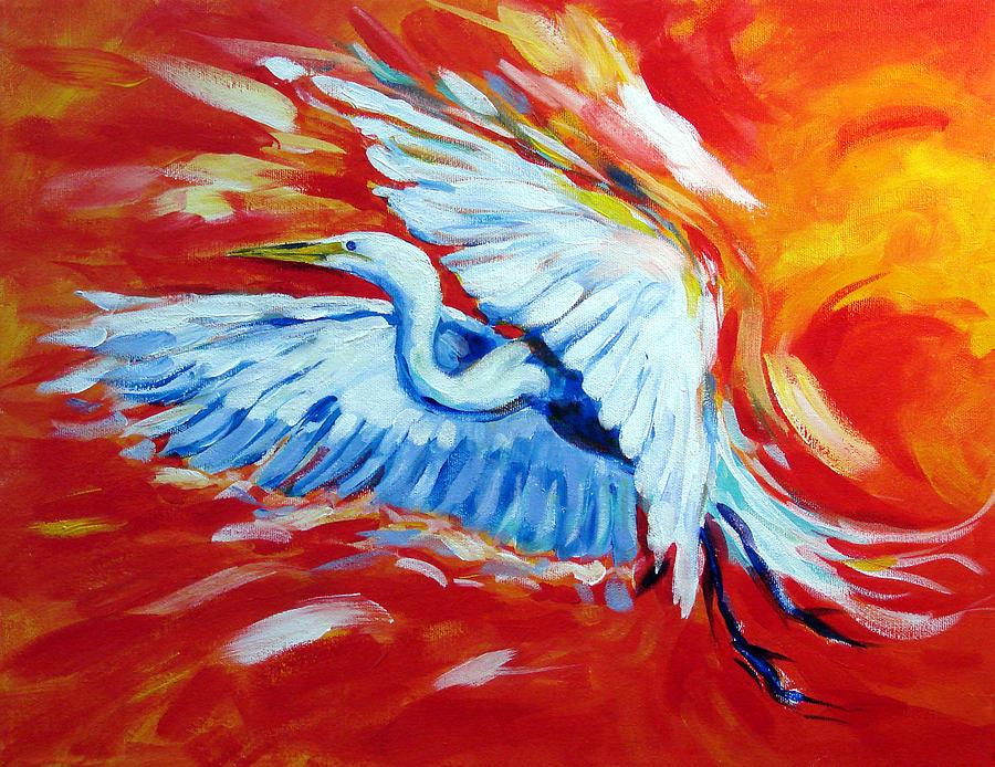 Heron Painting - Burst Of Flight by David  Maynard