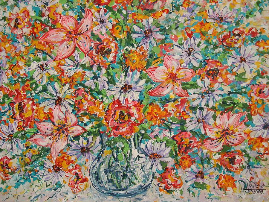 Flowers Painting - Burst Of Flowers by Leonard Holland
