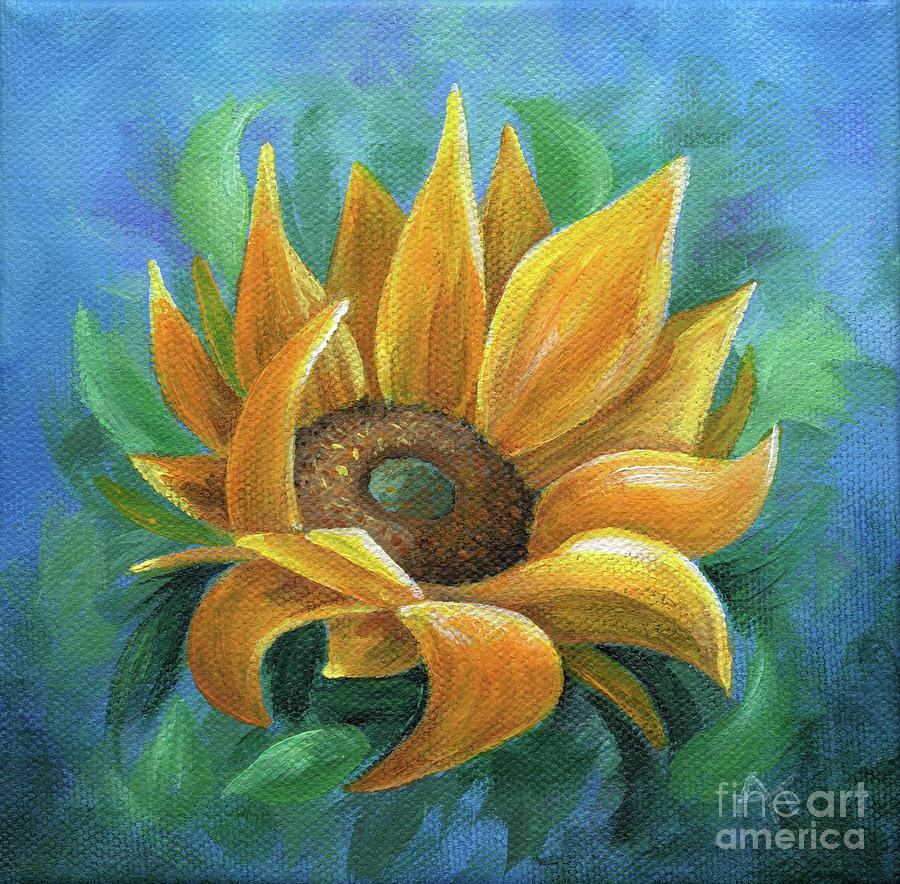 Sunflower Painting - Burst of Sunshine by Annie Troe