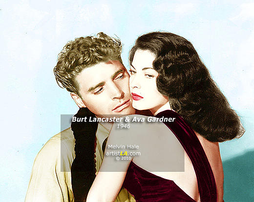 Vintage Painting - Burt Lancaster And Ava Gardner C1946 by Melvin Hale ArtistLA