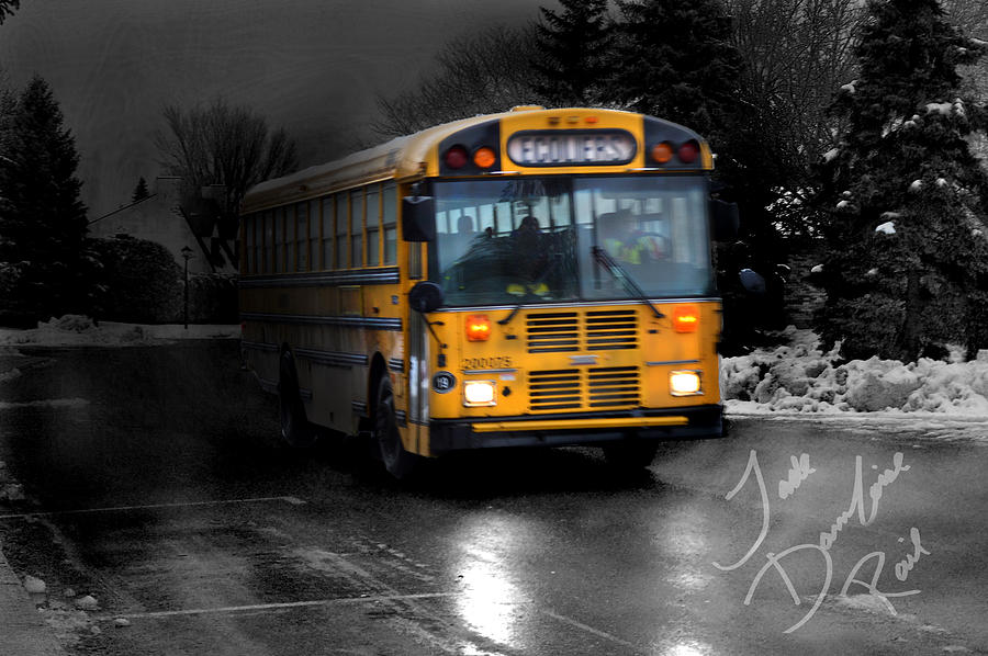 Winter Photograph - Bus Of Darkness by Jade Damboise Rail