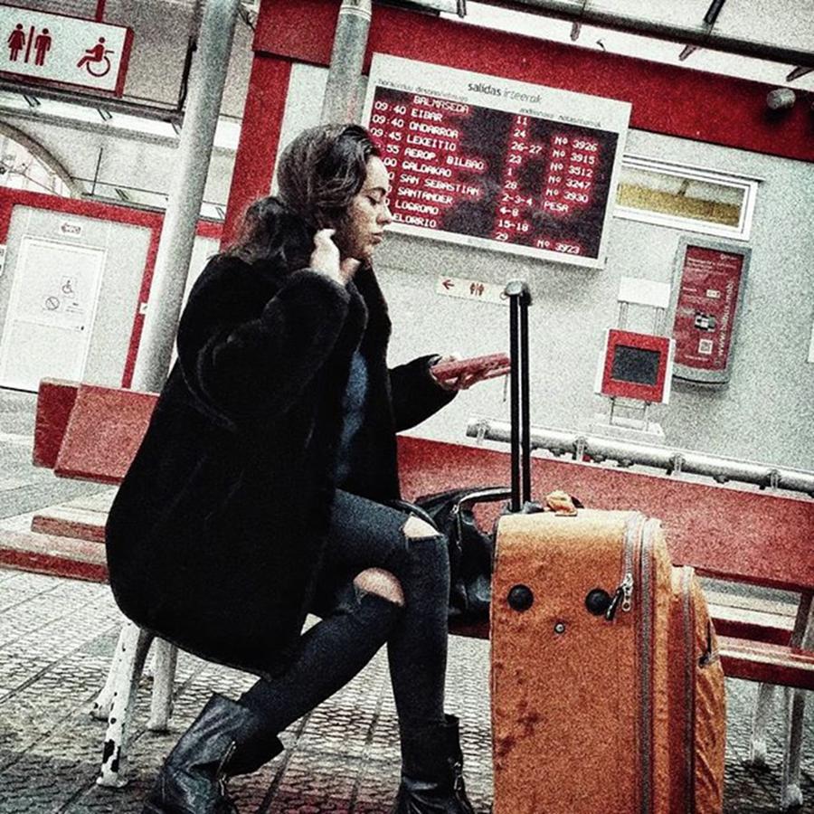 Bilbao Photograph - Bus Station Girl #streetportrait by Rafa Rivas