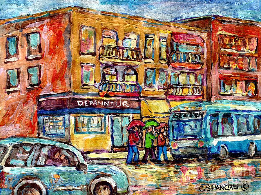 Verdun Painting - Bus Stop Depanneur Arret 58 Wellington Bus Cornerstore Rainy Day Verdun Montreal Painting C Spandau  by Carole Spandau