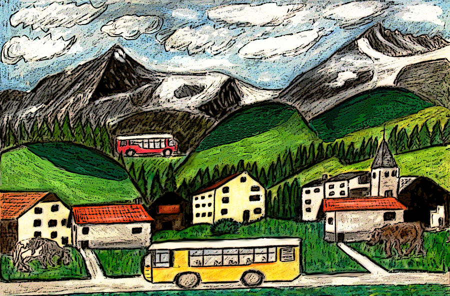 Bus Travel Painting by Monica Engeler