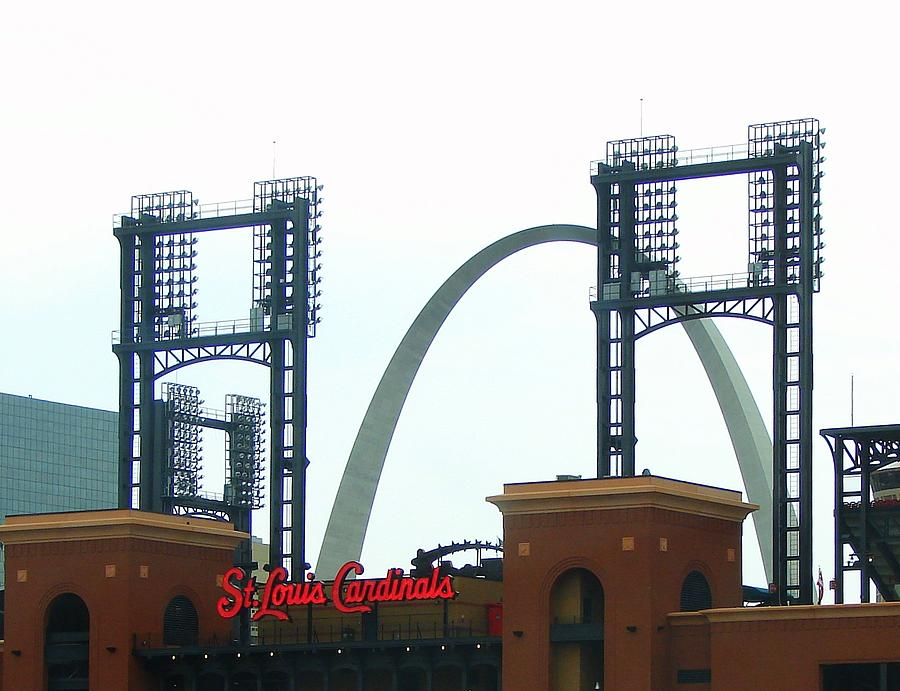 Photograph Photograph - Busch Stadium With Arch by J R Seymour
