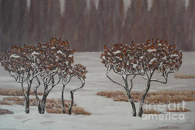 Bushes Painting - Bushes With Bulfinches by Ludmila Kalinina