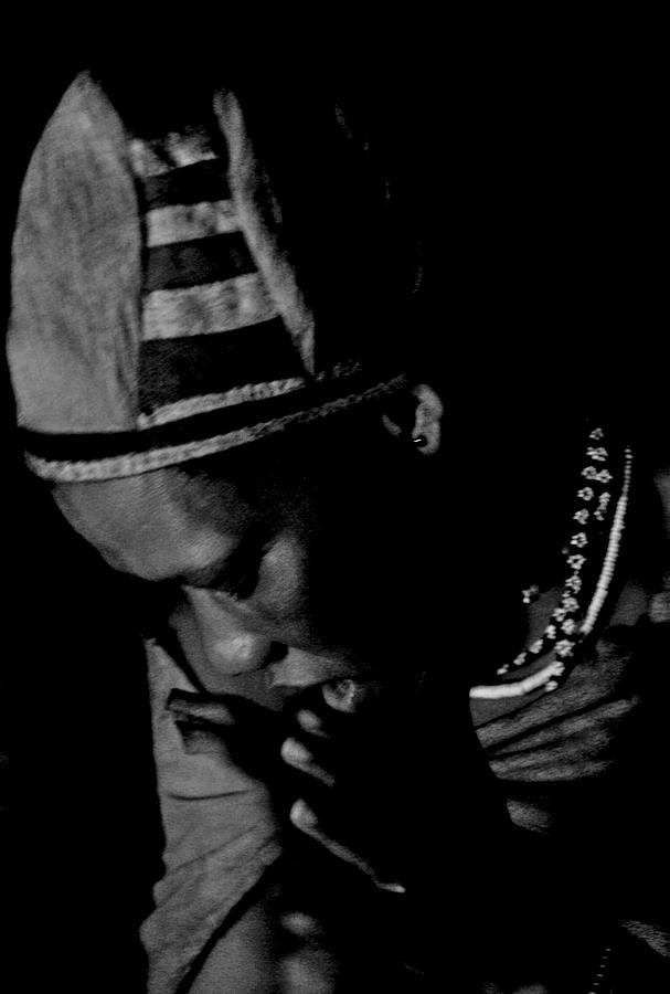 Black And White Photograph - Bushmen Praying Woman by Miranda  Miranda