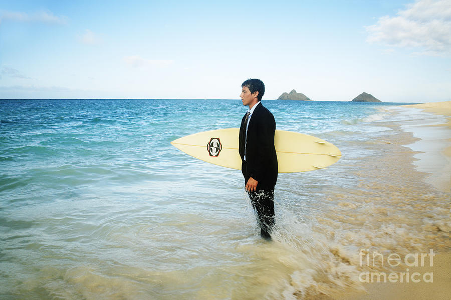 Active Photograph - Business Man At The Beach With Surfboard by Brandon Tabiolo - Printscapes