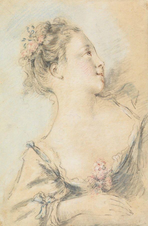 French Artist Drawing - Bust Of A Young Girl  by Francois Boucher