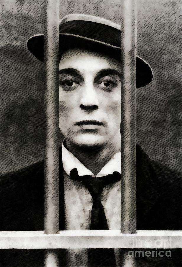 Buster Keaton, Vintage Actor Painting