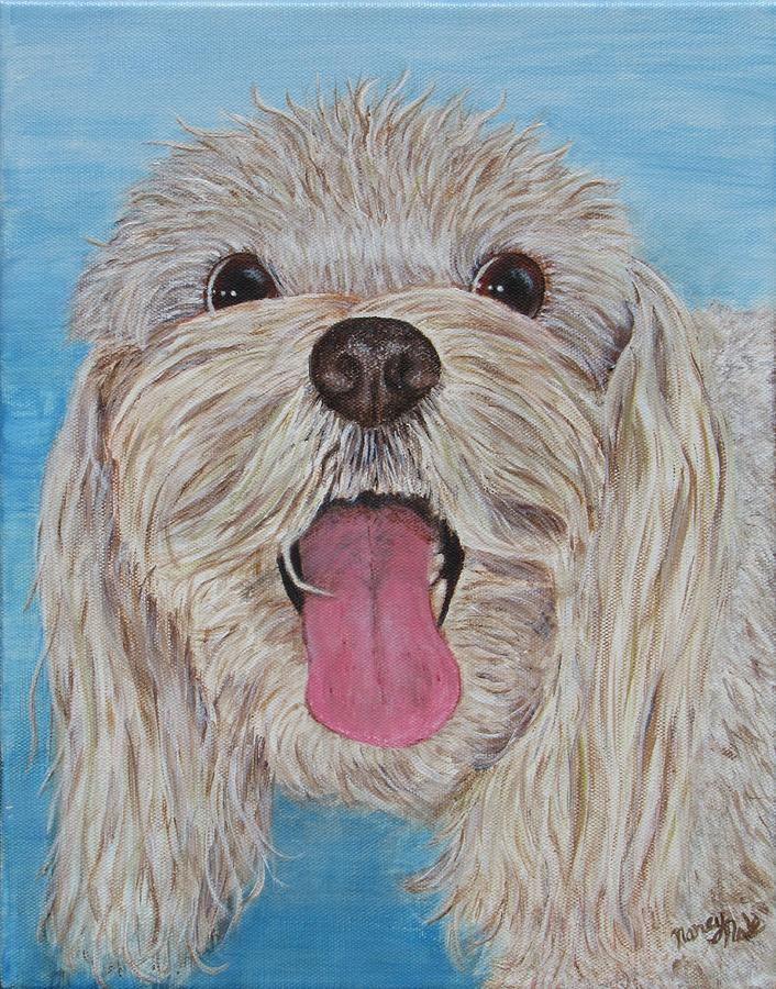 Dog Painting - Buster by Nancy Nale