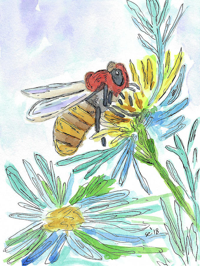 Watercolor And Ink Painting - Busy Bee by Susan Campbell