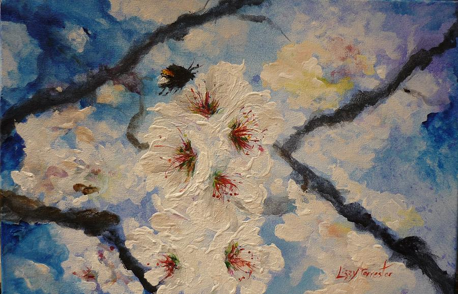 Bumble Bee Painting - Busy Bumble Bee And Blossom.  by Lizzy Forrester