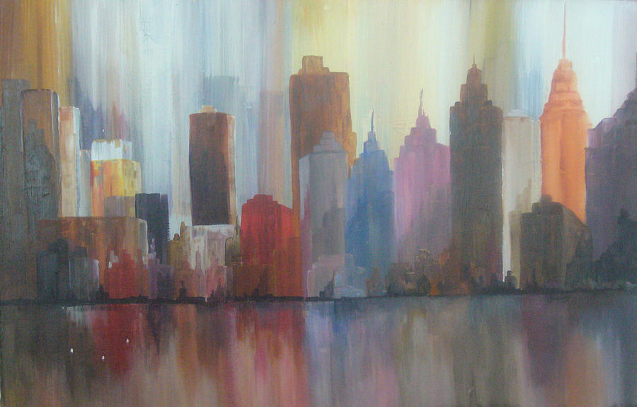 Cityscape Painting - Busy City by Michael Murphy