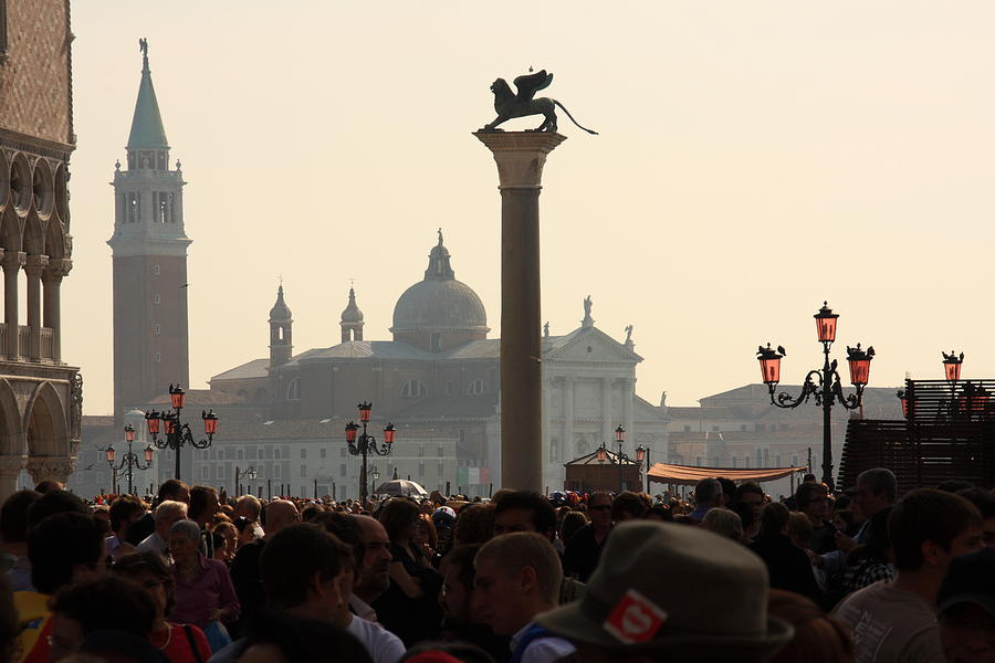 Venice Photograph - Busy Day at St. Marks Square by Michael Henderson