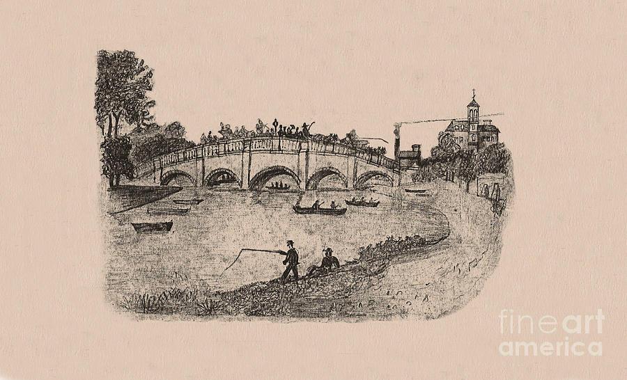 Bridge Drawing - Busy Richmond Bridge And Fishermen by Donna Munro