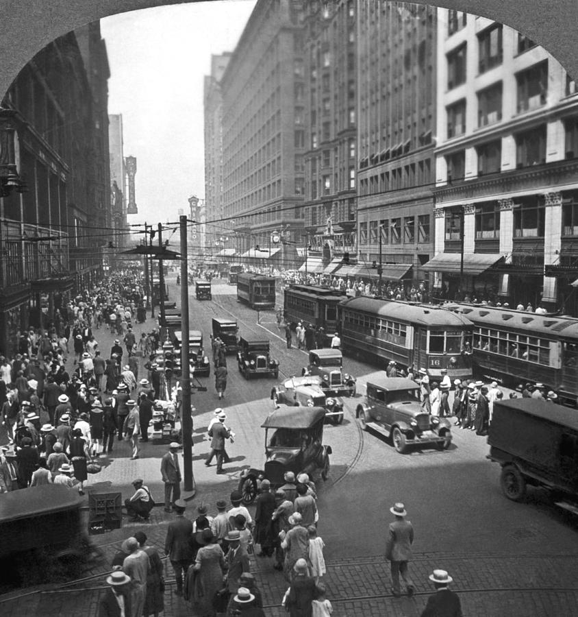 1920s Photograph - Busy State Street In Chicago by Keystone View Company