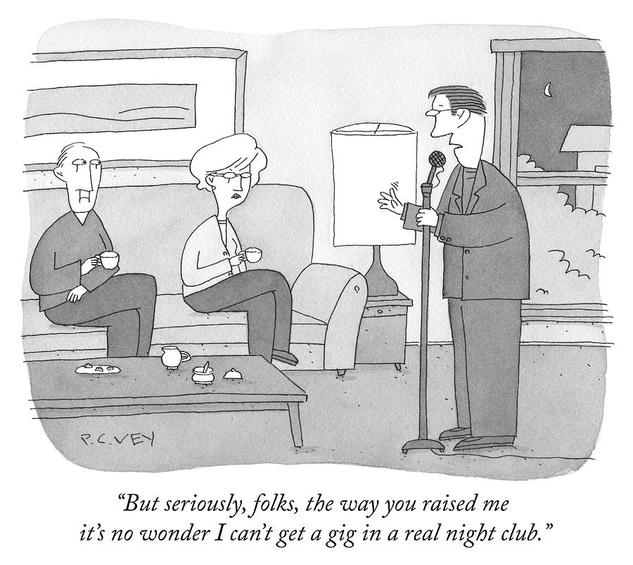 But Seriously Folks Drawing by Peter C Vey