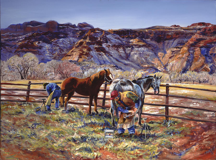Horse Painting - Butch And Clayton  Swapping Shoes And Tales by Page Holland