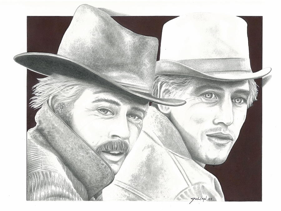 Celebrity Drawing - Butch Casidy And The Sundance Kid  Robert Redford  Paul Newman by Julian  B