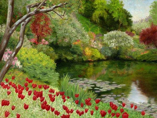Landscape Painting - Butchart Gardens by Christa Eppinghaus