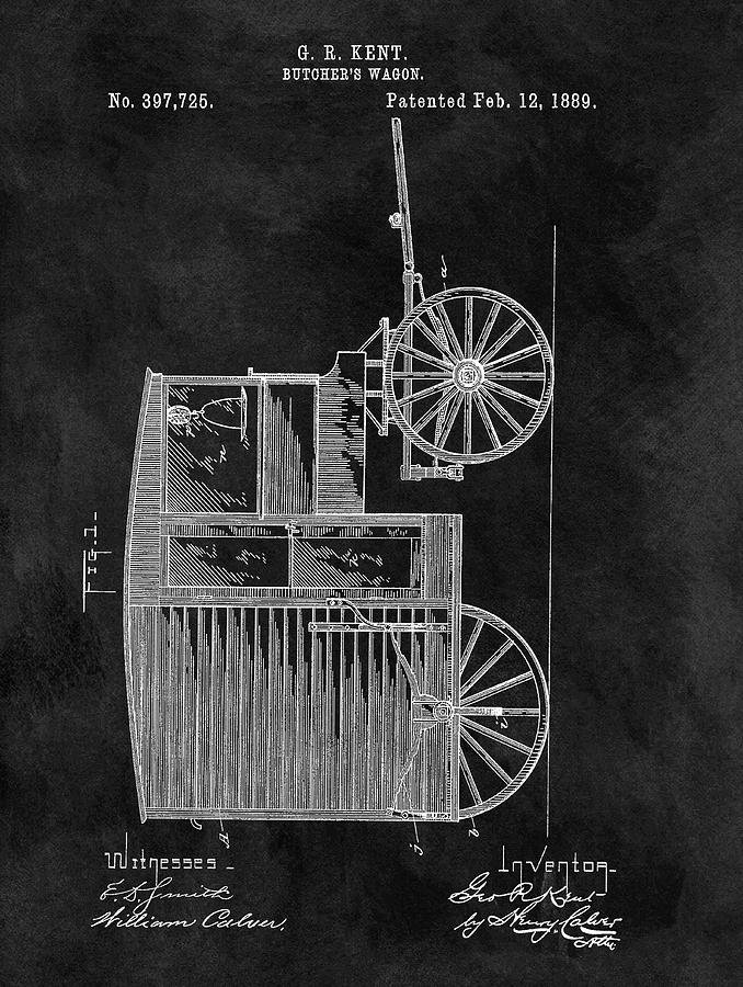 Butcher Drawing - Butchers Wagon Patent by Dan Sproul