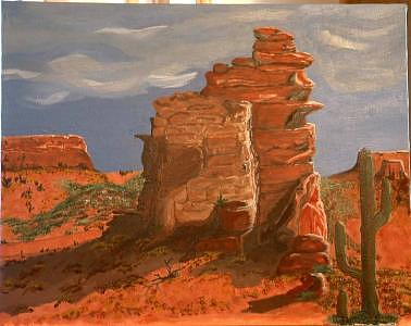 Buttes Painting - Butte by Debra Abell