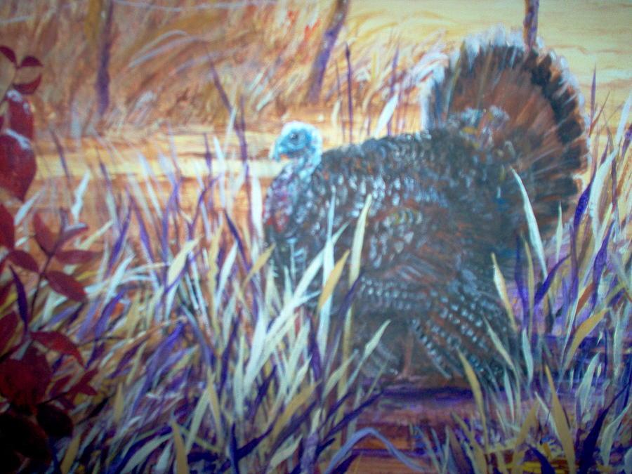 Landscape Painting - Butter Run Wild Turkey Tom by Linda Gower