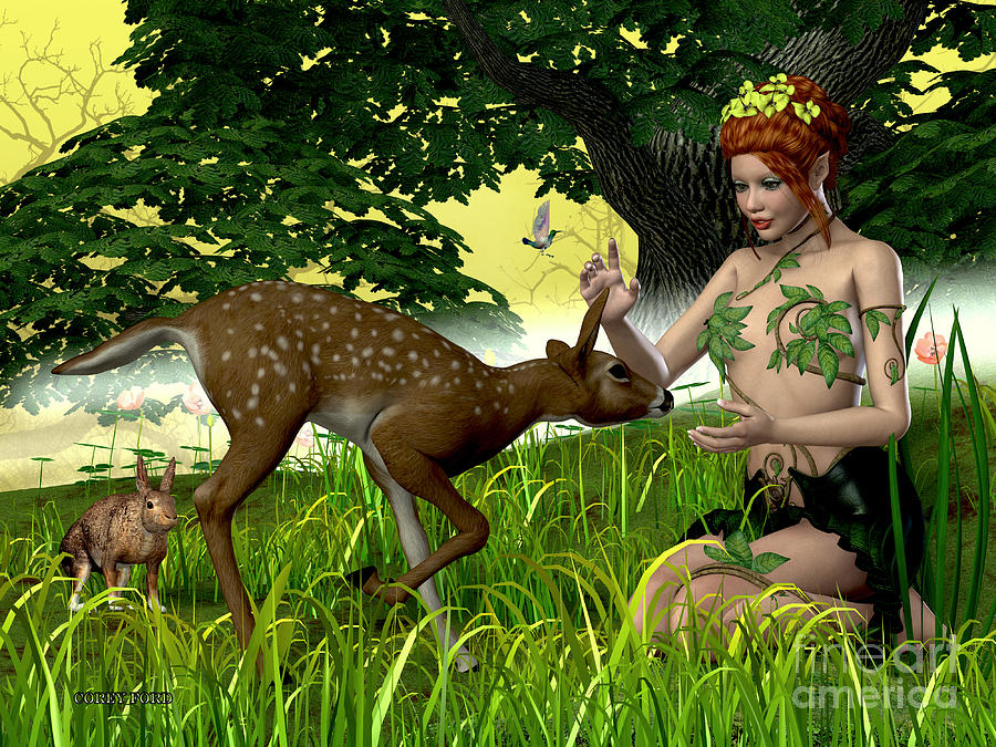 Fairy Painting - Buttercup Fairy And Forest Friends by Corey Ford