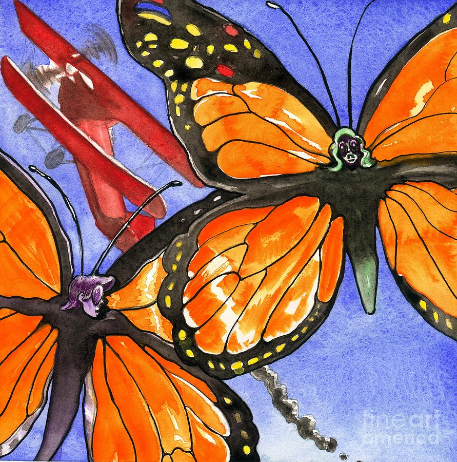 Illustration Painting - Butterflies And Biplane by Robert  Myers