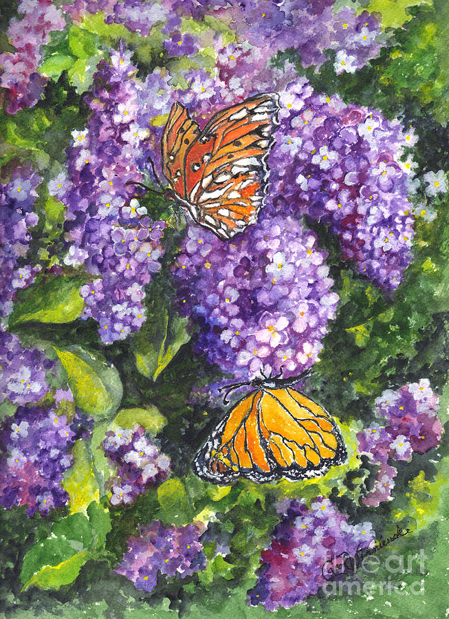 Floral Painting - Butterflies And Lilacs by Carol Wisniewski