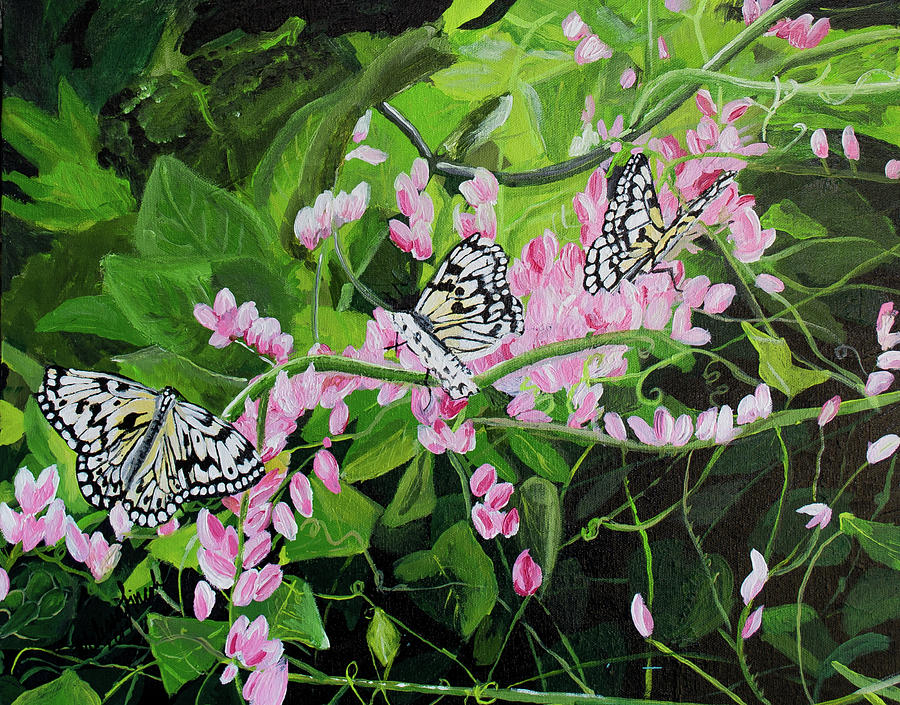 Butterflies and pink flowers by MKD Lincoln